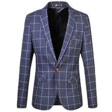 Новый 2017 Весной Синий и Фиолетовый Плед Случайный Пиджак Мужчины плюс Размер Однобортный Блейзер Masculino Slim Fit Мужчины Костюм куртки