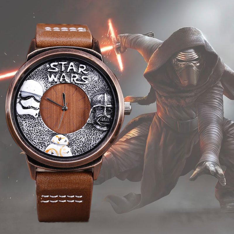 Creative STAR WARS Watch Mens Wristwatch Leather Strap Unique Design Male Watches Brown Black Casual Quartz Clock Man 2017 black star wars galactic empire badge pattern quartz pocket watch with key chain male female clock reloj de bolsillo masculino