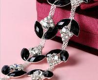 1 Yard Sparkle Rhinestones Siyah oval Kristal Çiçek Gümüş Kaplama Flatback Şerit Zincir Trim Dikiş Craft Diy Için