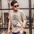 Alta calidad de la camiseta 2XL-7XL del búho impresión de la camiseta hombres hombres del algodón de la camiseta más el tamaño del nuevo verano