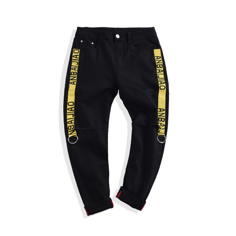 High quality 2019 wholesale Summer cowboy students Hip hop men 39 s letters webbing ribbon knee hole casual Ankle Length pants in Jeans from Men 39 s Clothing