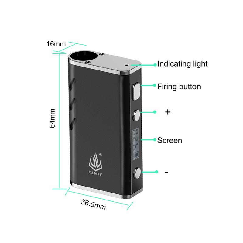 Lvsmoke YMER CBD Vape Mod Electronic Cigarette 510 Thread 650mah Battery Box Mod For All Oil Cartridge Atomizers A Palm Cbd Vape