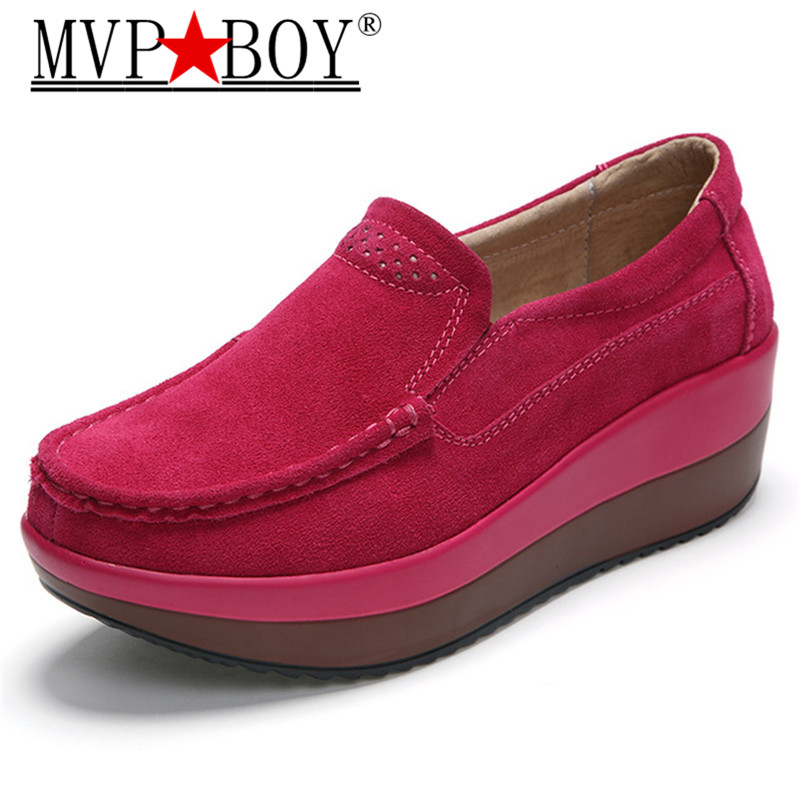 MVP BOY 2018 Summer Women platform sneakers shoes leather Suede slip on thick soled sneakers women Creepers Moccasins womens