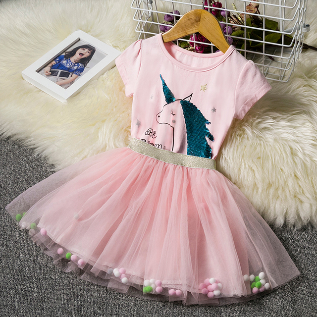 6b13d9e5ca9d4 Children Clothing Sets Baby Girl Unicorn Party Outfits T-Shirts+Veil  Dresses for Girls Dress 3 4 5 6 7 8 Years Summer Clothes