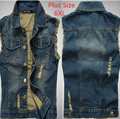 Mens Denim Vest Sleeveless Jacket Waistcoat Gilet Homme Plus Size 4XL 5XL 6XL Blue Denim Chaleco Mens Jean vest Charleco Vaquero