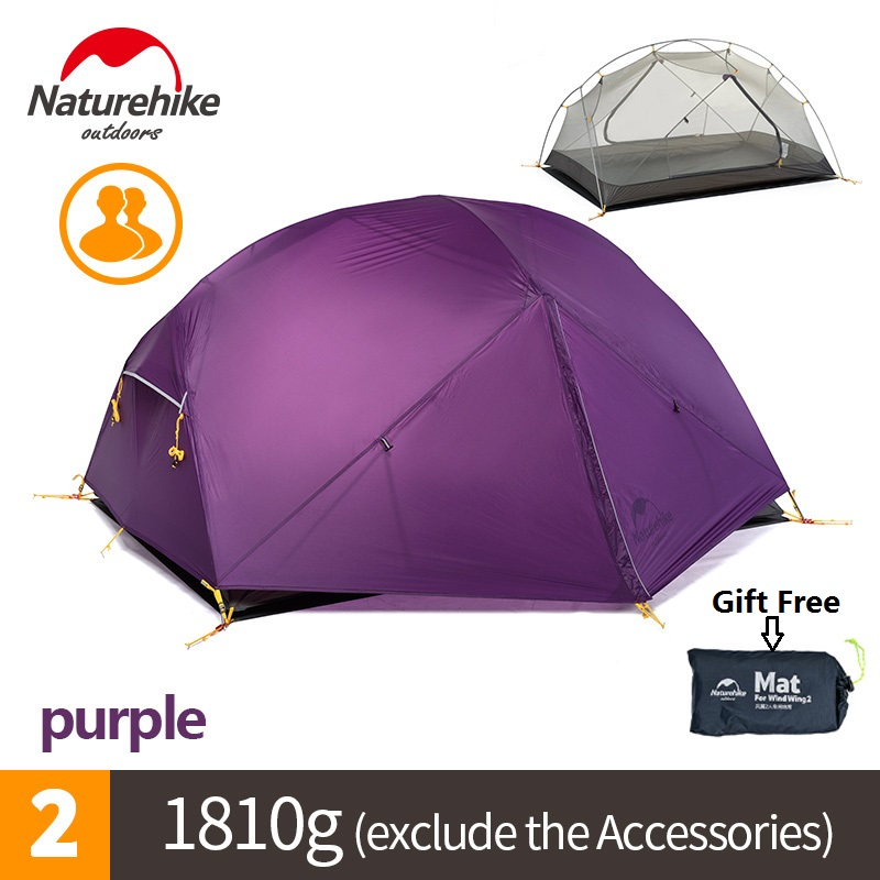 Naturehike factory sell Mongar 2 Camping Tent Double Layers 2 Person Waterproof Ultralight Dome Tent DHL free shipping high quality outdoor 2 person camping tent double layer aluminum rod ultralight tent with snow skirt oneroad windsnow 2 plus