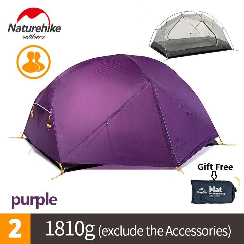 Naturehike Продажа с фабрики Mongar 2 палатка двухслойная 2 человек Водонепроницаемый Сверхлегкий купол палатка DHL Бесплатная доставка