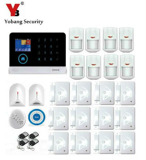 Yobang Security WIFI GSM SMS Home Burglar Security Alarm System With Wireless Siren Glass Break Detector Safety Alert wireless alarm accessories glass vibration door pir siren smoke gas water sensor for home security wifi gsm sms alarm system