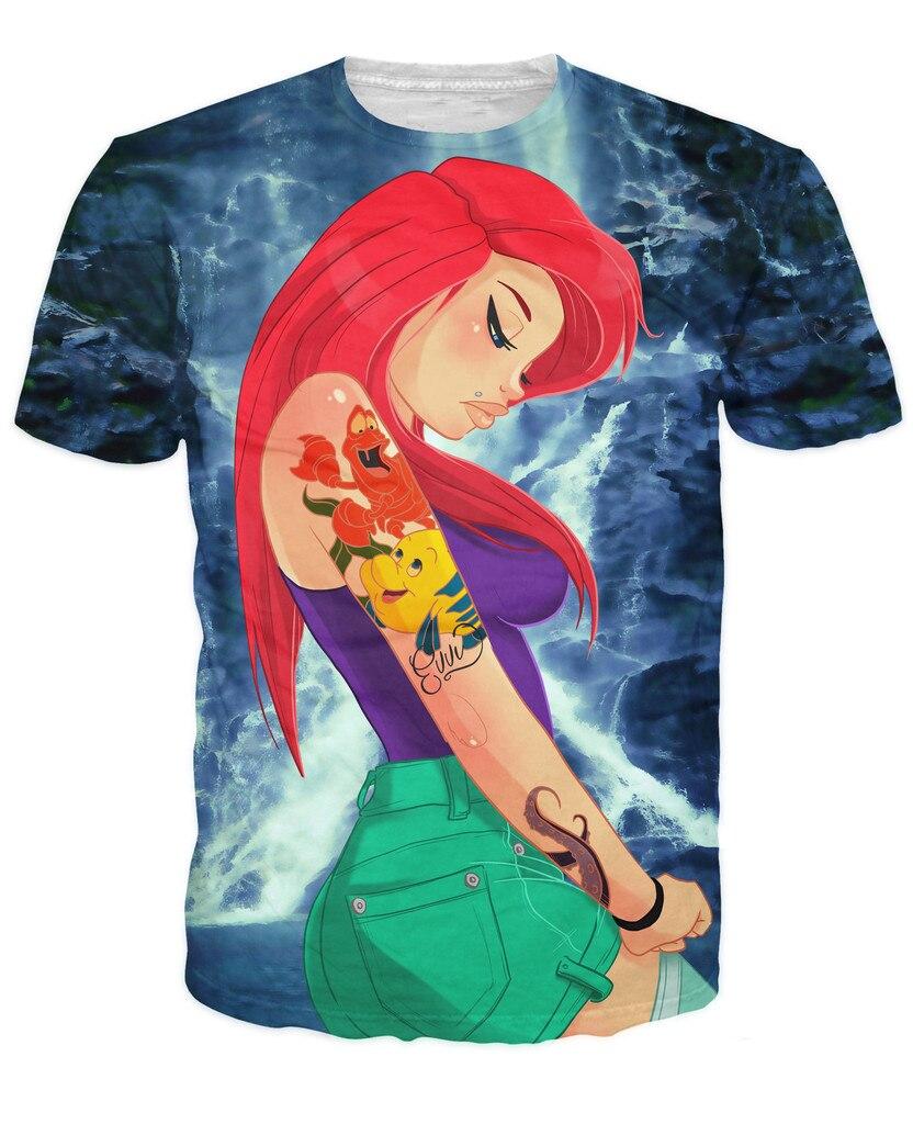 Para Mujer Para Hombre 3d Ariel T Shirt El Joven Mar Princesas De