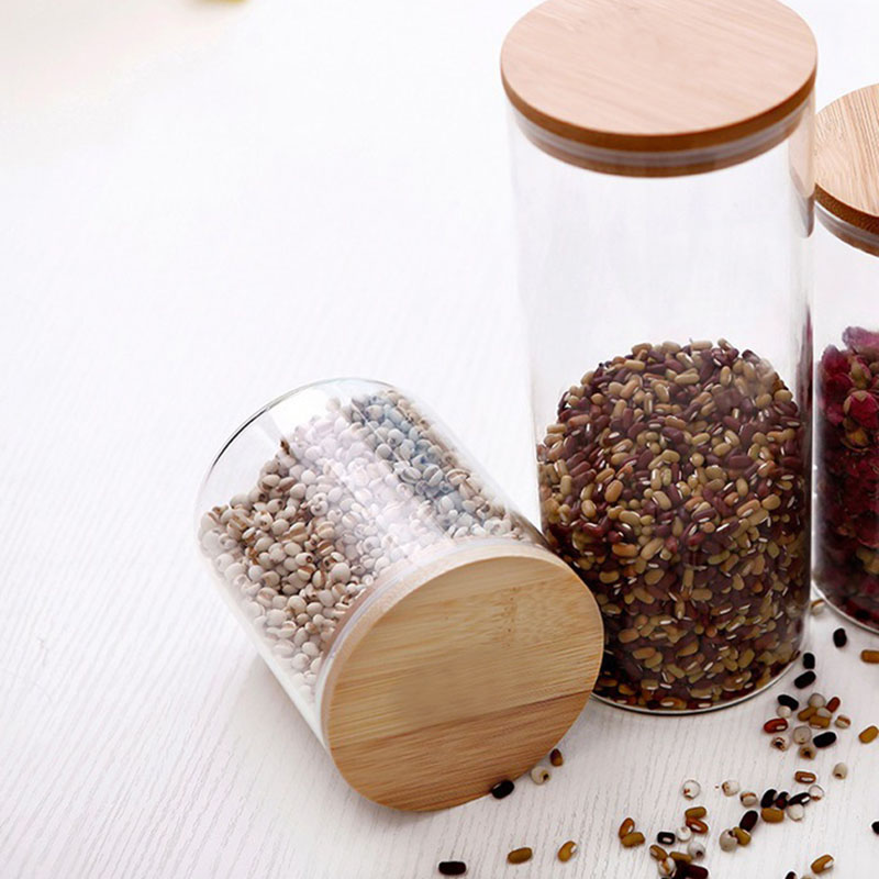 Glass Storage Bottle with Bamboo Lid Kitchen Accessories 3