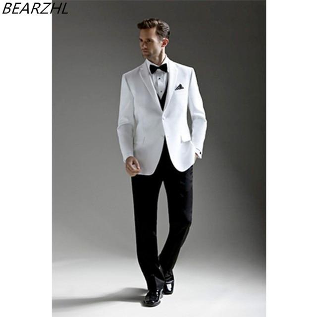 Molto Smoking bianco uomo moderno slim fit groom usura 3 pezzo del  ZA51