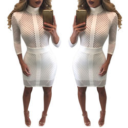 Sexy Women Elegent White Slim Bodycon Bandage Evening Party Long Sleeve Lace Pencil Dress 1
