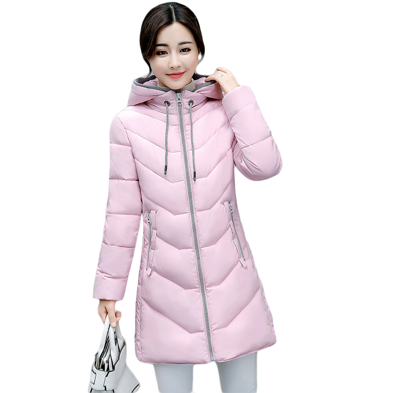 New 2017 Winter Cotton Coat Women Slim Outwear Medium-long Padded Jacket Thick Hooded Wadded Warm Cotton Parkas Plus Size CM1603 winter women outwear long hooded cotton coat faux fur collar plus size parkas wadded slim jacket warm padded cotton coats pw0997