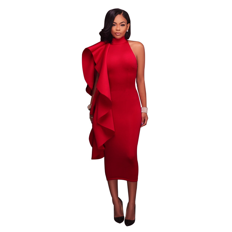 Elegant One Shoulder Ruffles Details Club Dress Plus Size Women High Neck Back Zipper Mid Calf
