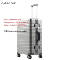 CARRYLOVE 100% aluminum material, technology and fashion, high quality 20/24/28 size Luggage Spinner brand Travel Suitcase