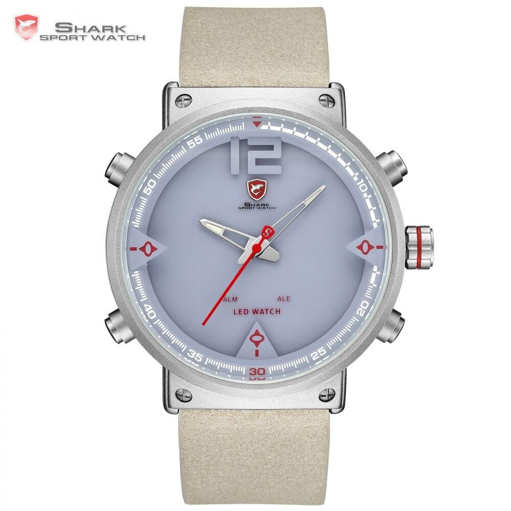 Bluegray, reloj deportivo Shark, reloj Digital fresco, nuevo diseño, hora dual, alarma de fecha LED, relojes de cuarzo de cuero para hombres, reloj/SH550