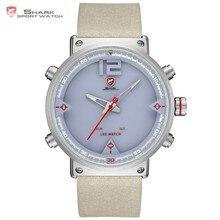 2d96dd81eac5 Bluegray tiburón alfombra deporte reloj Digital nuevo diseño de doble LED  fecha alarma de cuero de los hombres relojes de cuarzo.