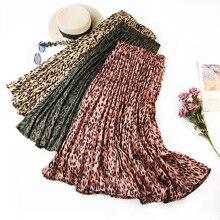European American Style Elastic High Waisted Midi Skirts Ladies Spring Summer Women Vintage Satin Long Pleated Leopard