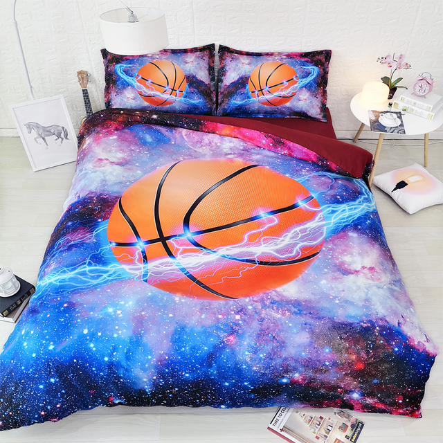 JF 557 Cool Basketball And Galaxy Bed Set 4pcs 3d Sports Bedding For Teens  Boys