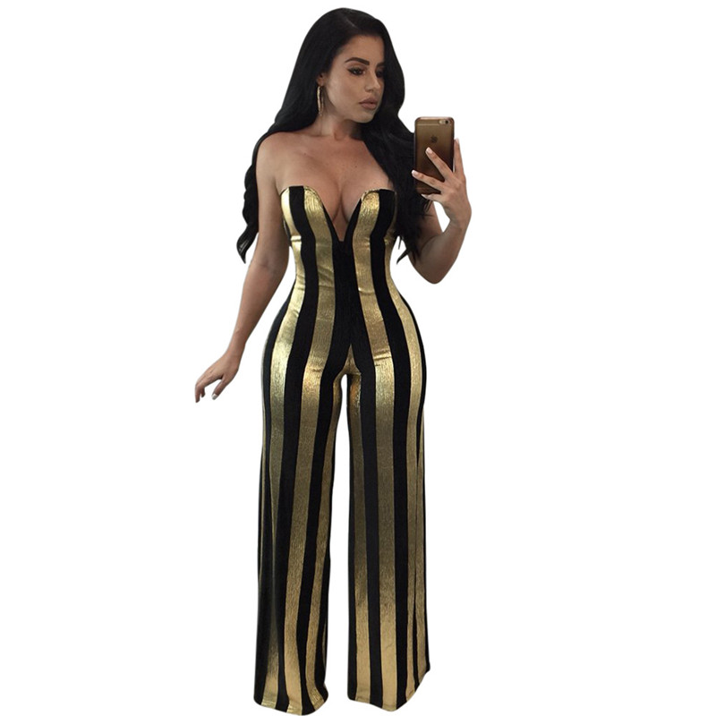 Aliexpress Com Buy Sexy Shiny Deep V Strapless Jumpsuit