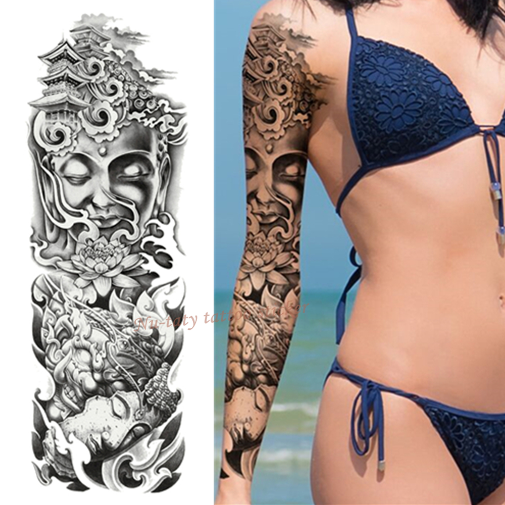 Us 158 5 Offnu Taty Skull Lotus Large Arm Sleeve Tattoo Waterproof Temporary Tattoo Sticker Men Full Flower Tatoo Body Art Tattoo Girl In