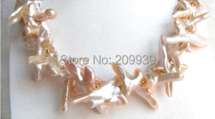Huij 00887 STUNNING40mm rose baroque nautral collier de perles
