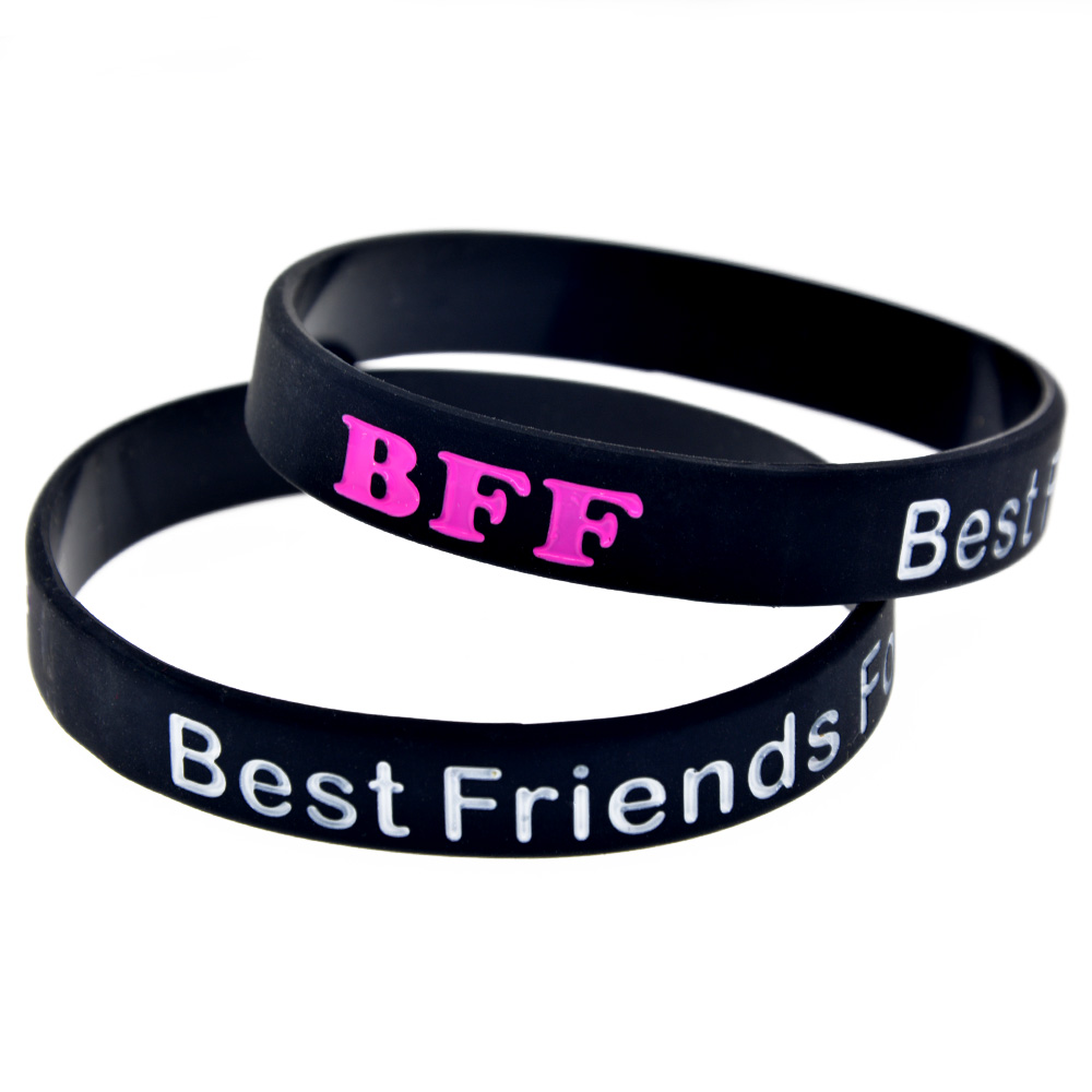 fbd5c236903a3 US $2.47 25% OFF|OneBandaHouse 1PC BFF Best Friends Forever Silicone  Wristband Classic Decoration Bangle-in ID Bracelets from Jewelry &  Accessories on ...