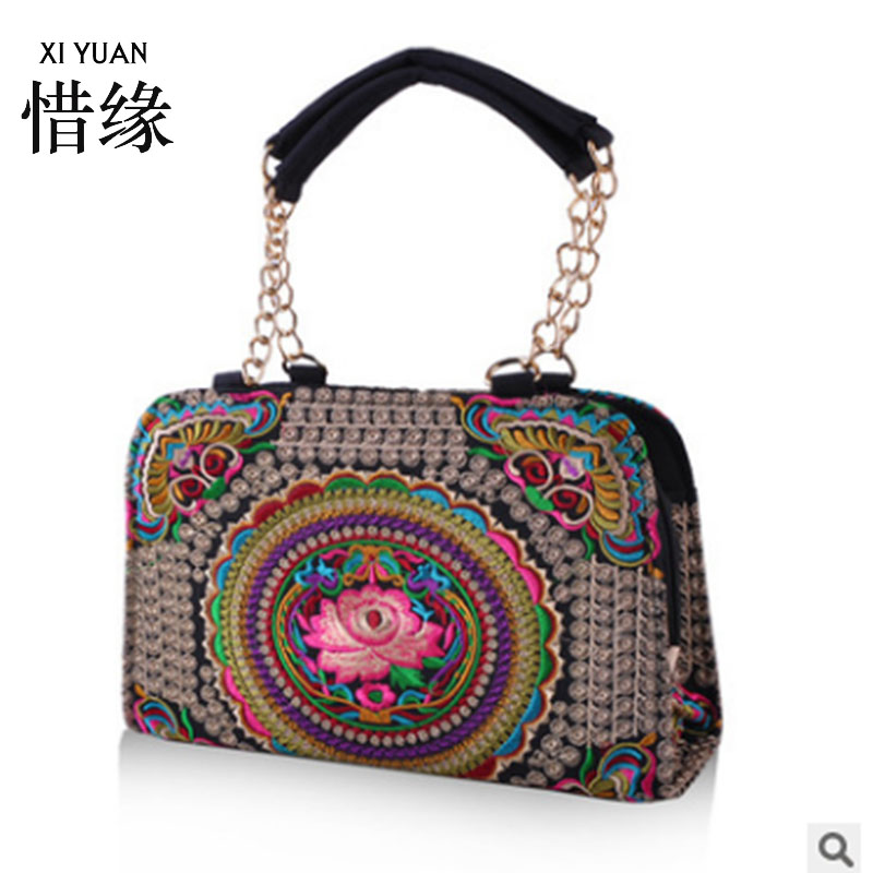 XIYUAN BRAND Exquisite chinese floral vintage womans shoulder indian womens embroidery bag embroidered handbags ethnic blue off the shoulder random floral embroidered stripe top