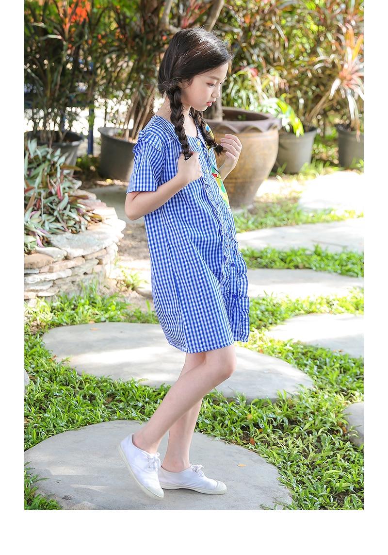 d2bf056c94bf summer girls clothes school casual big girls dresses knee length cotton  preppy summer dress 2018 kids baby shirts dress clothing 4 5 6 7 8 9 10 11  12 13 14 ...