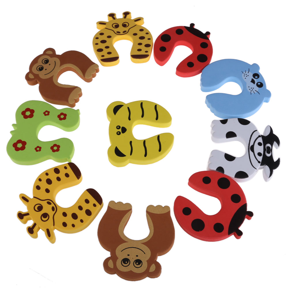 10pcs/lot Baby Safety Door Stopper Baby Kids Finger Protecting Guard Children Safe Door Stop Holder Kid Animal Cartoon Door Card