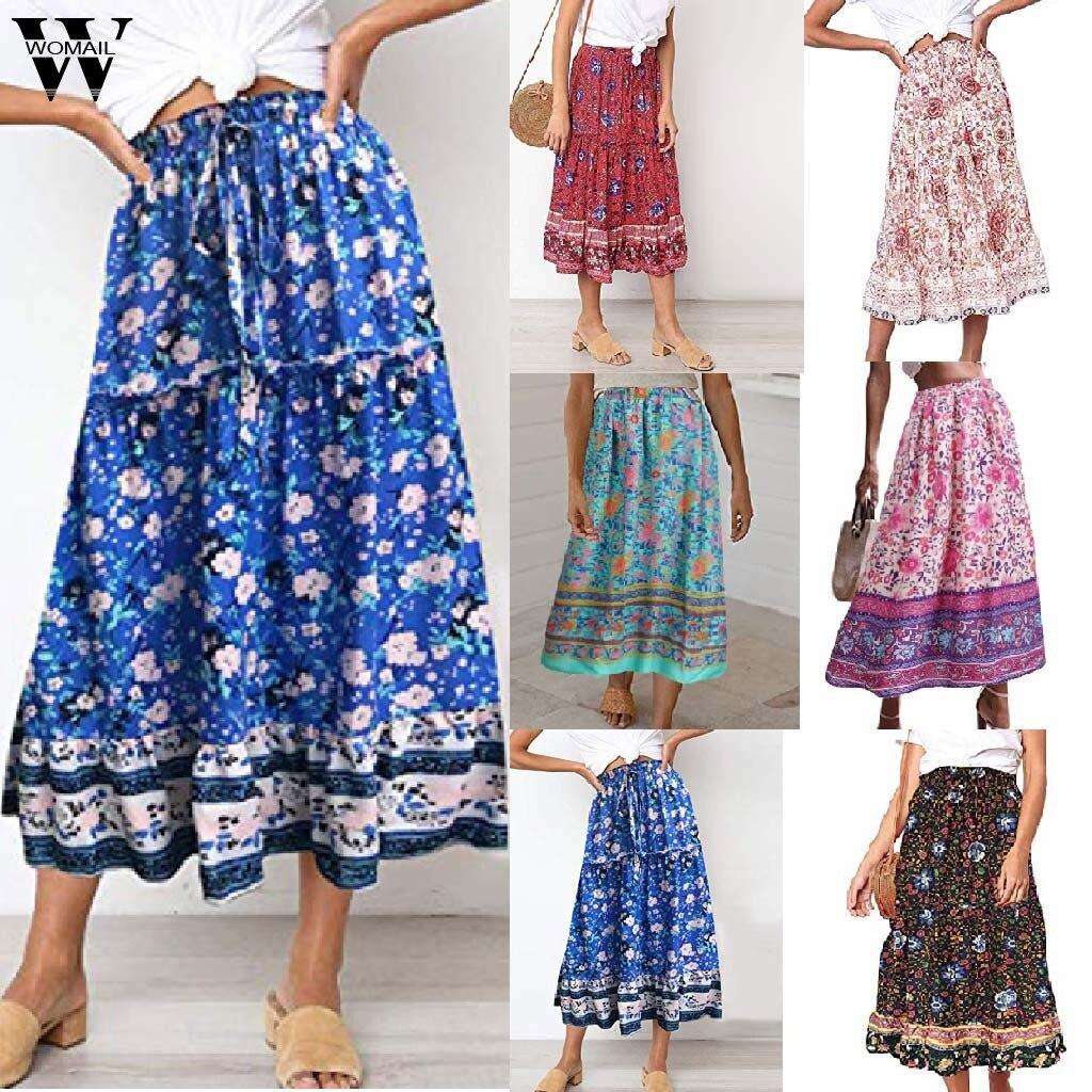 Womail Skirts Women Summer Fashion Boho Elastic Waist A-Line Skirts Floral Printed Kawaii Slim Casual Long Skirt Beach J66