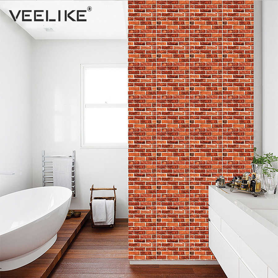 3D Wall Panel Brick Stone Rustic Effect Self adhesive Wallpaper for Kitchen  Backsplash Tiles Bathroom Wall Paper Home Decoration