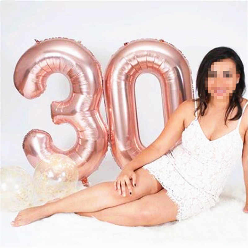 32 Polegada Figuras Folha Grande Grande Rosa Vermelha Rosa Balões Número de Ouro Float Ar Inflável Bolas Decorações Do Casamento da Festa de Aniversário