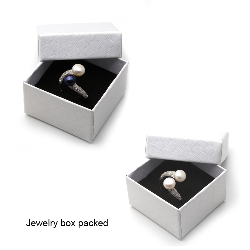 Real 925 Sterling Silver Double Pearl Rings Women, AAA Cubic Zircon Fashion Jewelry Vintage Wedding Rings Gift Black Adjustable