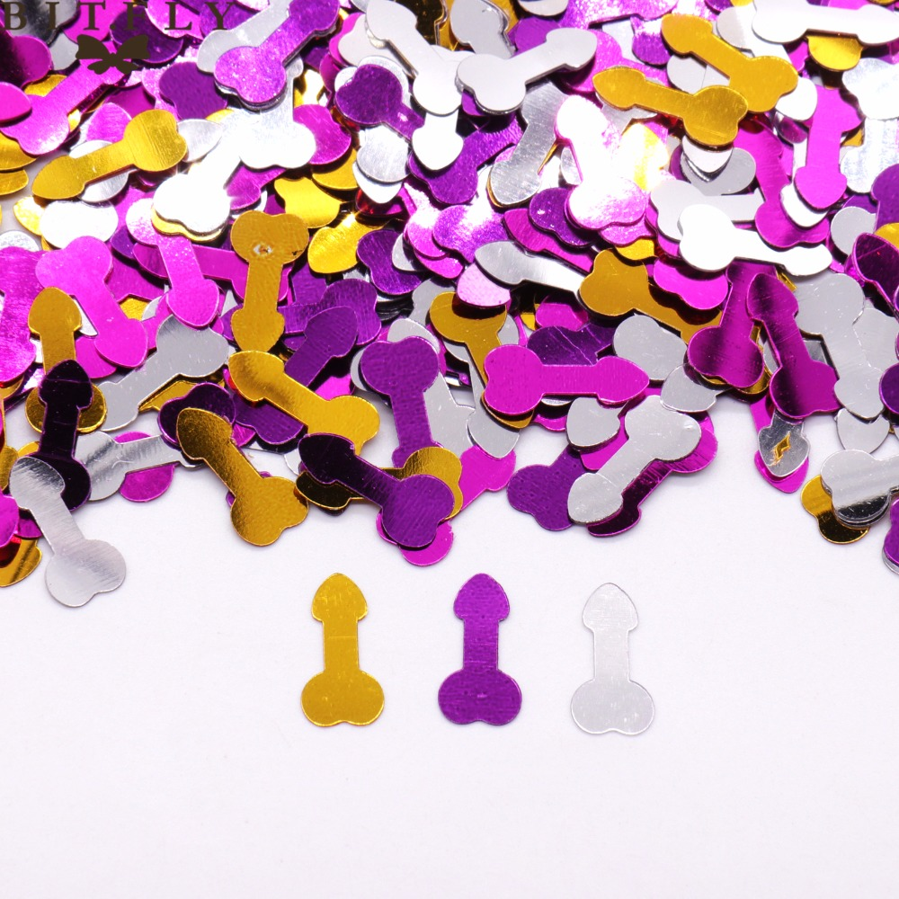 About 400pcs Colorful Romantic Willy Penis Confetti Bachelor Party Scraping Paper Dining Table Decoration Hen Supplies