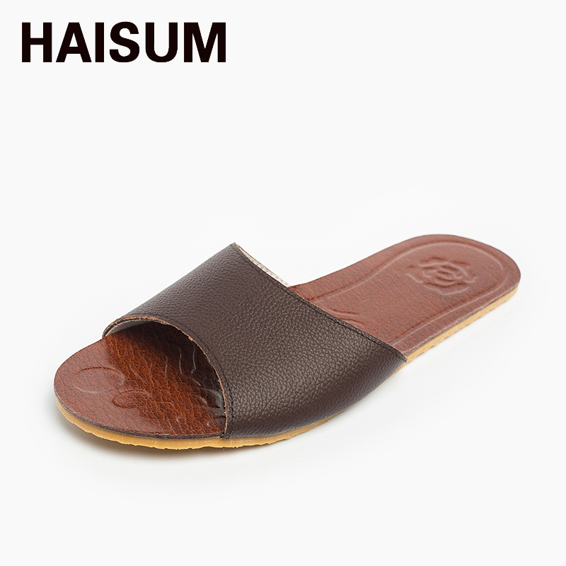 2017 Men's Summer  Leather Slippers Haisum Outdoor Open Toes Shoes Slip On House Beach Sandals 8805 beach house