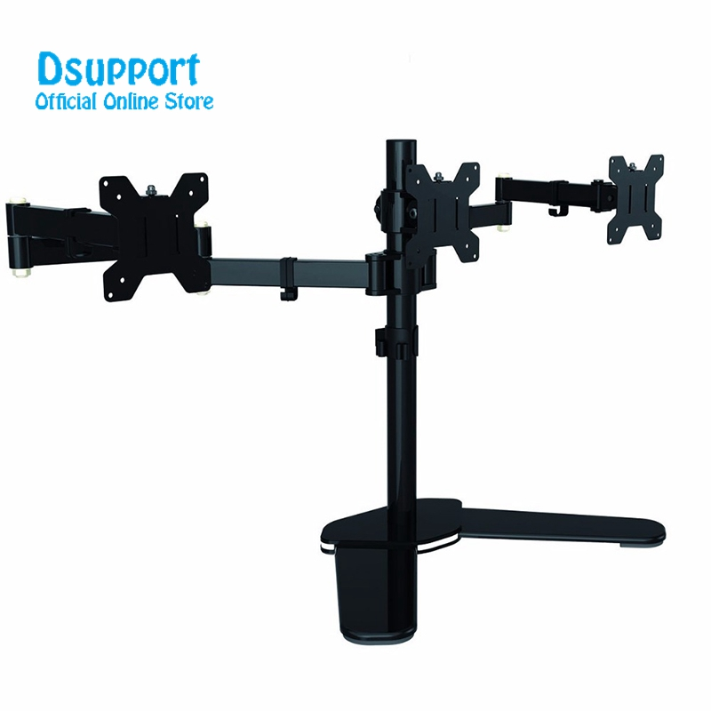Fully Adjustable Triple Arm LCD LED Monitor Stand Desk Mount Bracket for 13-27 Screens 180 Pull Out Swivel Arm ML6463