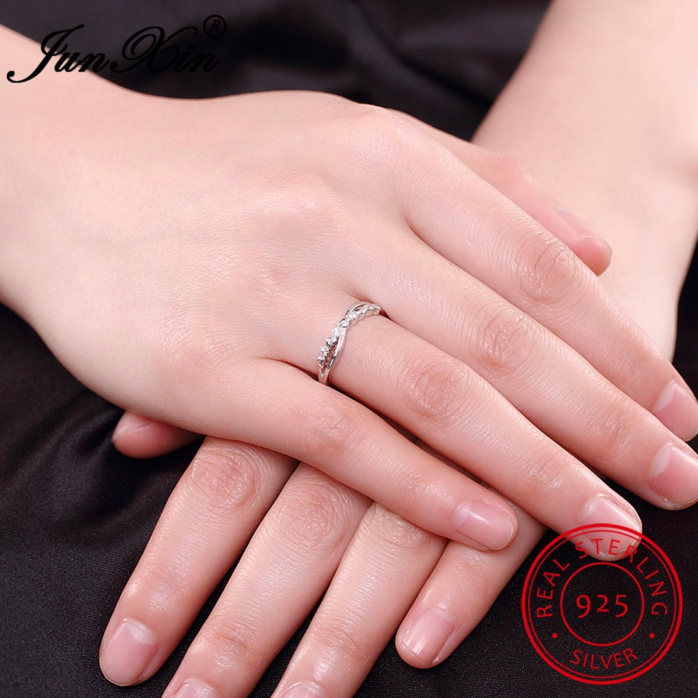 JUNXIN White CZ Geometroc Rings Ajustable Ring 100% Real 925 ...