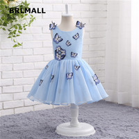 2018 Hot Sale Flower Girl Dresses Tea Length Tulle Butterfly Applique Sleeveless Cheap Ball Flower Girl