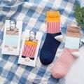 Mujer Linda Pareja Calcetines Engrosamiento Caliente Mujeres Calcetines Otoño Invierno Calcetines De Algodón Suave con Cajas de Regalo de Alta Calidad 2 Par/lote