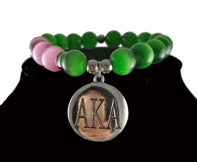Greek AKA Sorority cat eye really natural stone round sliver charms and Alpha Kap Alpha Legacy