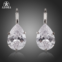 AZORA Brand Design Pear Cut Clear Cubic Zirconia Water Drop Earrings TE0158