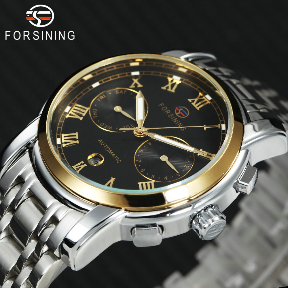 лучшая цена FORSINING Mechanical Mens Watches Top Brand Luxury Stainless Steel Strap Golden Roman Number Sub-dials Business Wristwatch
