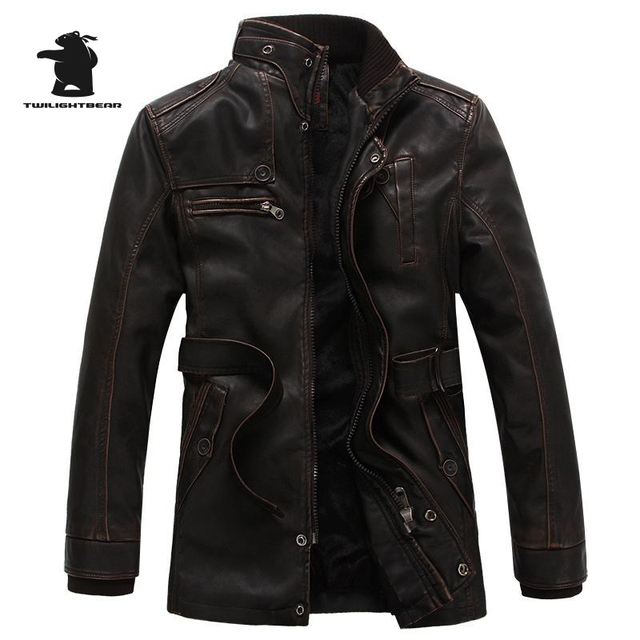 New Men's Leather Jacket Fashion Stand Collar Fleece Winter Thicken Washed Pu Casual Bick Leather Jacket Men Leather Coat E8F4G1