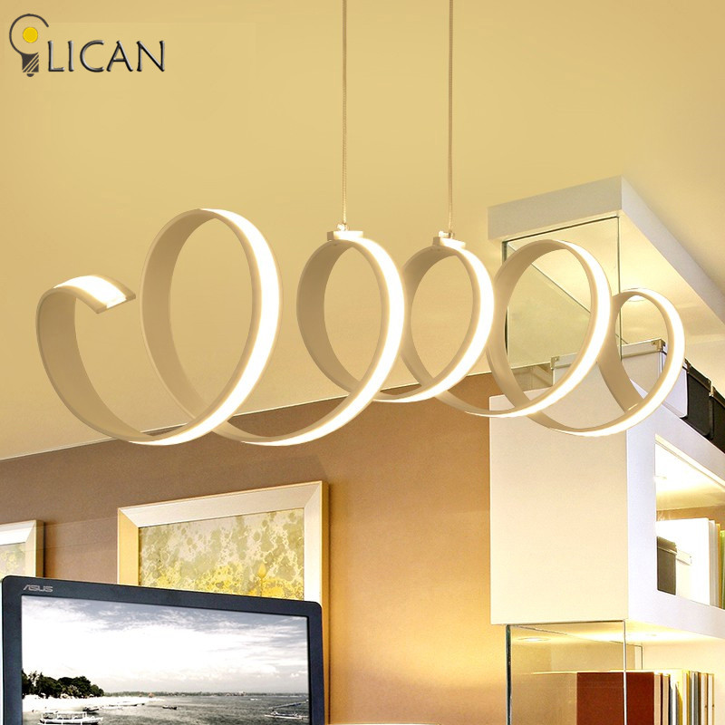 LICAN Hanging Modern Led Pendant Lights For Dining Kitchen Room suspension luminaire suspendu 110V 220V Pendant Lamp Lighting modern led pendant lights for dining living room hanging circel rings acrylic suspension luminaire pendant lamp lighting lampen