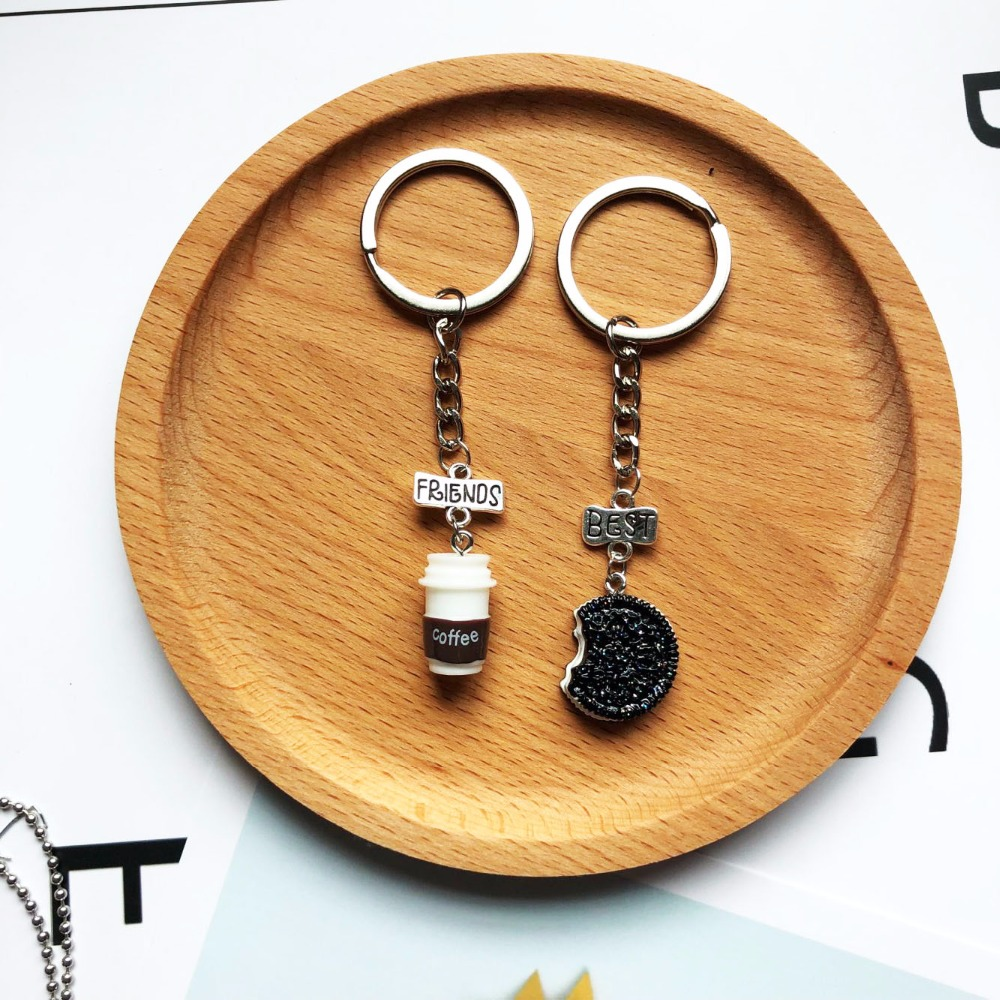 2019 Explosion Models New Fashion 2 Piece Set Cartoon Mini Oreo And Coffee Cup Alloy Pendant Keychain To The Best Friend Gift