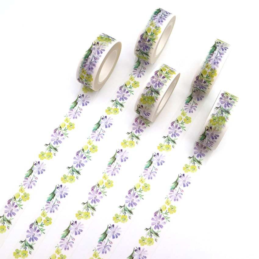 1 PCS Creative Flower Washi Tape DIY Decorative Tape Color Paper Office Adhesive Stationery Masking Tape Sticker 15mm*10m