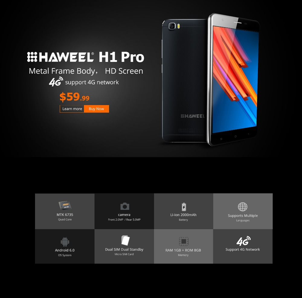 HAWEEL H1 Pro H1 China Brand Phone Android 5 1 MTK6580 Quad Core 3G WCDMA GSM