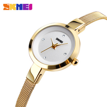 SKMEI Super Slim Golden Stainless Steel Watches Women Top Brand Luxury Casual Clock Ladies Wrist Watch Lady Relogio Feminino1390