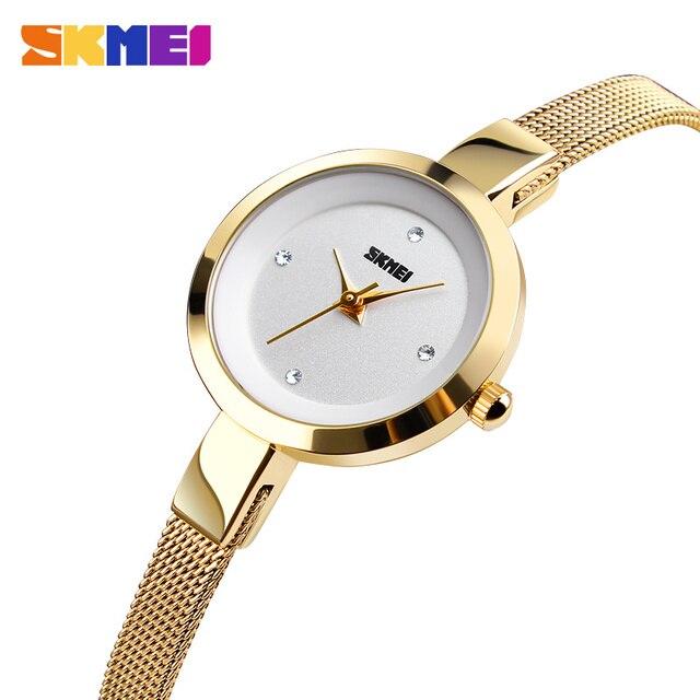 SKMEI Super Slim Golden Stainless Steel Watches Women Top Brand Luxury Casual Clock Ladies Wrist Watch Lady Relogio Feminino1390